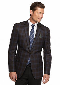 Tallia Orange Slim-Fit Plaid Sport Coat