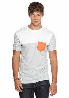 Red Camel Short Sleeve Colorblocked Chest Seam Pocket Tee