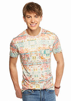 Red Camel Short Sleeve Allover Tribal Print T-Shirt