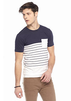 Red Camel Colorblock Stripe Pocket T-Shirt