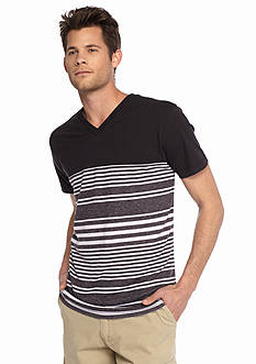 Red Camel Short Sleeve Jersey Striped V-Neck T-Shirt