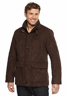 London Fog Quilted Suede Coat