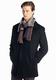 London Fog Big & Tall Wool Coat with Scarf