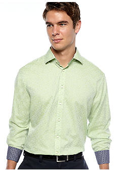 Thomas Dean Circle Print Solid Sport Shirt