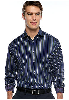 Thomas Dean Textured Stripe Sport Shirt