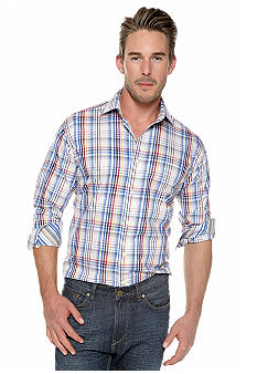 Thomas Dean Multicolor Plaid Button Down Shirt