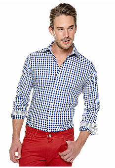 Thomas Dean Gingham Check Button Down Shirt
