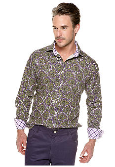 Thomas Dean Paisley Printed Button Down Shirt
