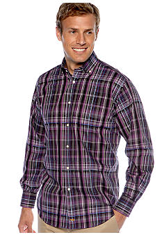 Thomas Dean Spread Collar Plaid Sport Shirt