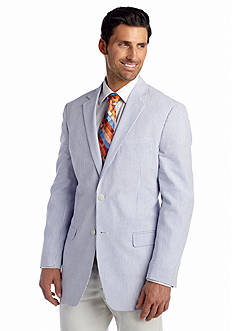 Saddlebred Classic-Fit Blue Seersucker Sport Coat