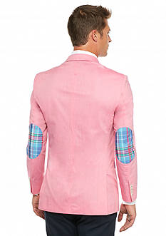 Saddlebred Classic-Fit Bright Pink Chambray With Plaid Elbow Patch Sport Coat