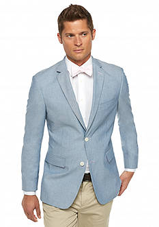 Saddlebred Classic-Fit Blue Chambray With Plaid Elbow Patch Sport Coat