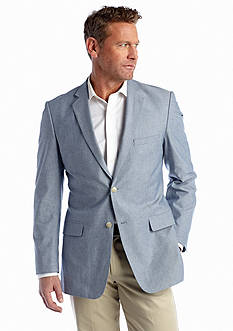 Saddlebred Big & Tall Classic-Fit Blue Chambray Sport Coat