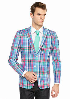 Saddlebred Classic-Fit Blue Pink Lavender Plaid Sport Coat