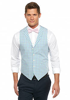 Saddlebred Classic-Fit Mini Pastel Plaid Lapel Vest