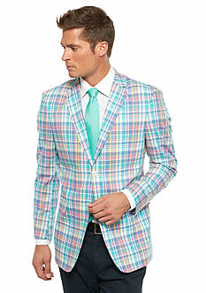 Saddlebred Classic-Fit Blue Green Pastel Plaid Sport Coat