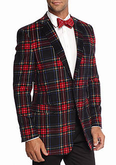 Saddlebred Classic Fit Red Navy Tartan Corduroy Sport Coat