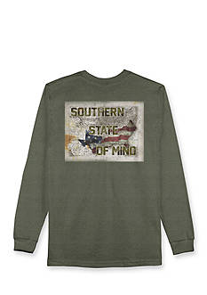 Hybrid Long Sleeve Southern State Of Mind Flag Map Graphic Tee