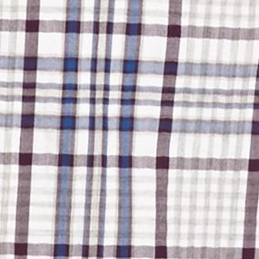 Men: Saddlebred Casual Shirts: White Blue Saddlebred Long Sleeve Plaid Woven Shirt