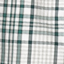 Men: Saddlebred Casual Shirts: White Green Saddlebred Long Sleeve Plaid Woven Shirt