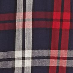 Men: Saddlebred Casual Shirts: Navy Red Saddlebred Long Sleeve Plaid Woven Shirt