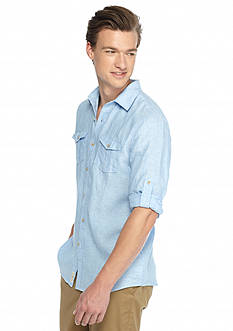 Ocean & Coast Long Sleeve Solid Linen Woven Shirt