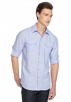 Ocean & Coast Long Sleeve Solid Linen Woven Shirt