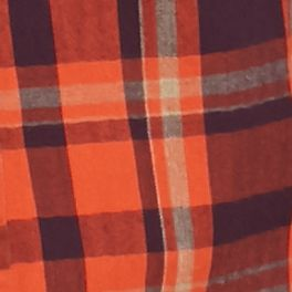 Ocean & Coast: Plum Orange Ocean & Coast Long Sleeve Plaid Brushed Twill Shirt