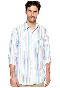 Black Brown 1826 Walker Stripe Linen Shirt