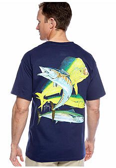 Guy Harvey Bull Dolphin, Wahoo, King Mackerel Pocket Tee