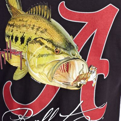 Men: Guy Harvey T Shirts: Black Guy Harvey Bama Roll Tide Tee