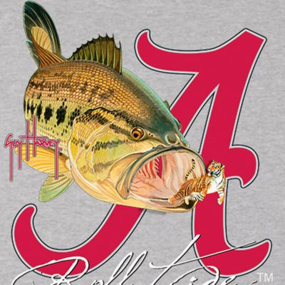 Short Sleeve T-shirts for Men: Athletic Heather Guy Harvey Bama Roll Tide Tee