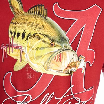 Men: Guy Harvey T Shirts: Red Guy Harvey Bama Roll Tide Tee