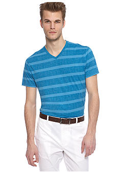 MADE Cam Newton Big & Tall Indie Blue Stripe V-Neck Tee