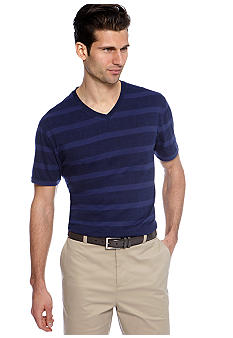 MADE Cam Newton Big & Tall Preppy Navy Stripe V-Neck Tee