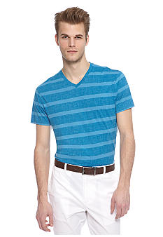 MADE Cam Newton Indie Blue Stripe V-Neck Tee