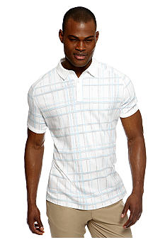 MADE Cam Newton White And Light Blue Windowpane Polo