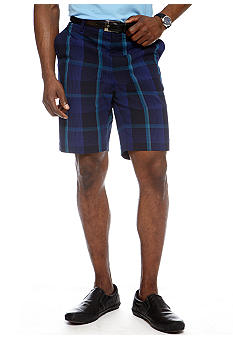 MADE Cam Newton Plaid Flat Front Shorts