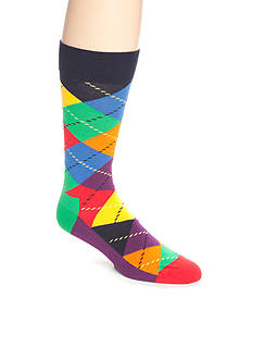 Happy Socks Men's Bright Argyle Crew Socks - Single Pair