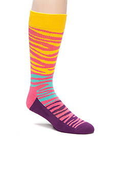 Happy Socks Men's Block Zebra Athletic Crew Socks - Single Pair