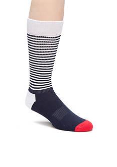 Happy Socks Men's Half Stripe Athletic Crew Socks - Single Pair