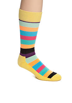 Happy Socks Men's Bright Multi-Stripe Athletic Crew Socks - Single Pair