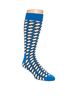 Happy Socks Men's Big & Tall Basket Weave Print Crew Socks - Single Pair