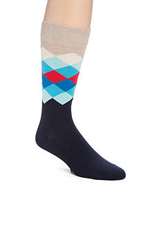 Happy Socks Men's Faded Diamond Print Crew Socks - Single Pair