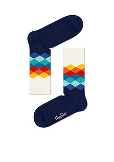 Happy Socks Men's Faded Diamond Crew Socks - Single Pair