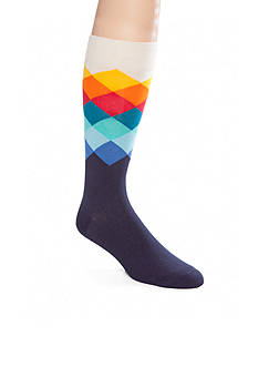 Happy Socks Men's Big & Tall Faded Diamond Crew Socks - Single Pair