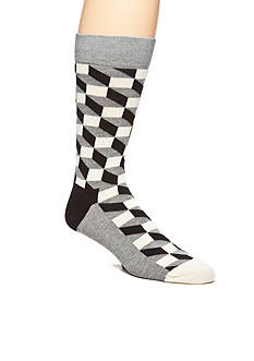 Happy Socks Men's Combed Cotton Filled Optic Print Socks - Single Pair