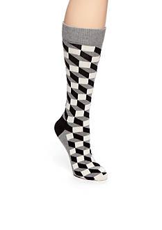 Happy Socks Men's Big & Tall Optic Print Crew Socks - Single Pair