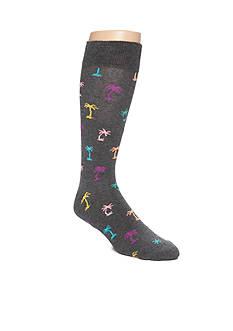 Happy Socks Men's Big & Tall Palm Tree Print Crew Socks - Single Pair