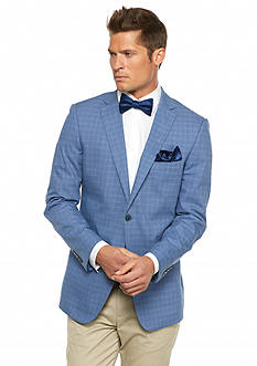 MADE Cam Newton Modern-Fit Blue Plaid with Navy Elbow Patch Sport Coat